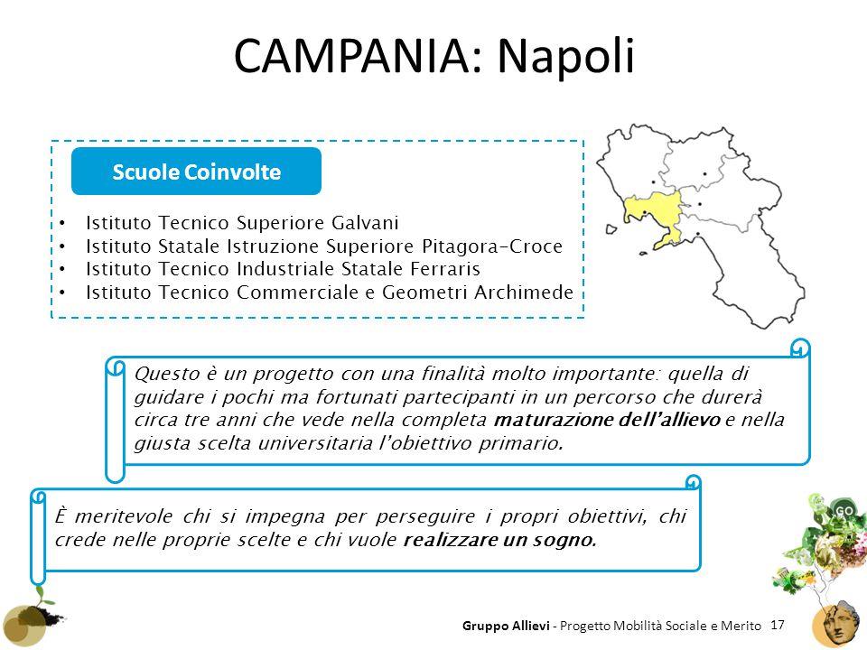 17 Gruppo Allievi - Progetto Mobilità Sociale e Merito CAMPANIA: Napoli Istituto Tecnico Superiore Galvani Istituto Statale Istruzione Superiore Pitag