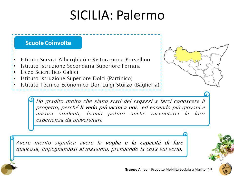 18 Gruppo Allievi - Progetto Mobilità Sociale e Merito SICILIA: Palermo Istituto Servizi Alberghieri e Ristorazione Borsellino Istituto Istruzione Sec