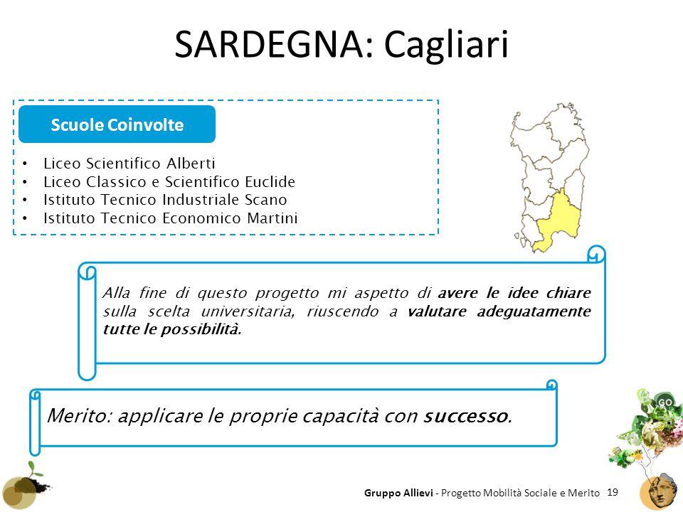 19 Gruppo Allievi - Progetto Mobilità Sociale e Merito SARDEGNA: Cagliari Liceo Scientifico Alberti Liceo Classico e Scientifico Euclide Istituto Tecn