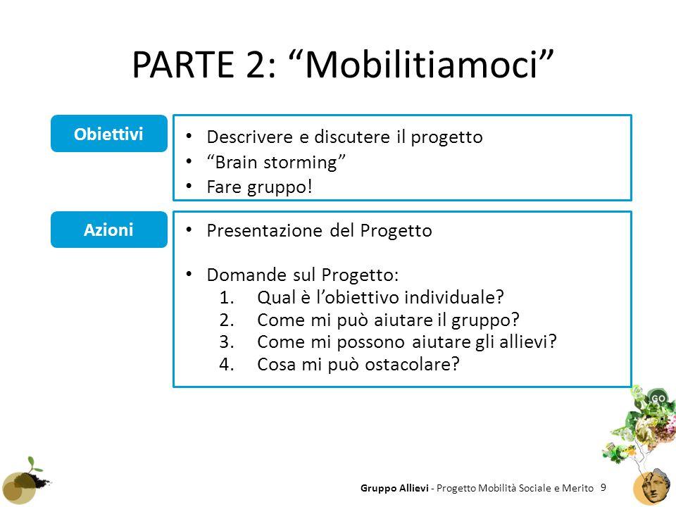 9 Gruppo Allievi - Progetto Mobilità Sociale e Merito Obiettivi Azioni Presentazione del Progetto Domande sul Progetto: 1.Qual è l'obiettivo individua