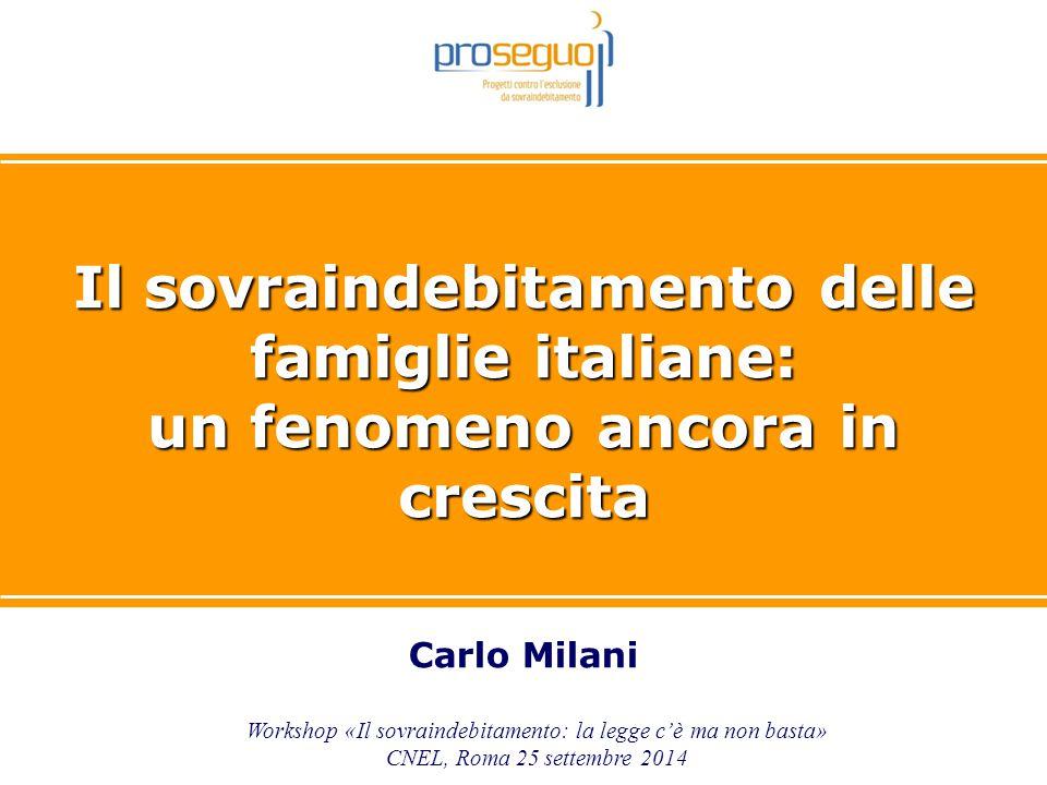 1 Il sovraindebitamento delle famiglie italiane: un fenomeno ancora in crescita Carlo Milani Workshop «Il sovraindebitamento: la legge c'è ma non bast