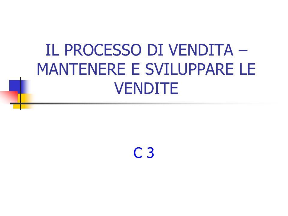 IL PROCESSO DI VENDITA – MANTENERE E SVILUPPARE LE VENDITE C 3