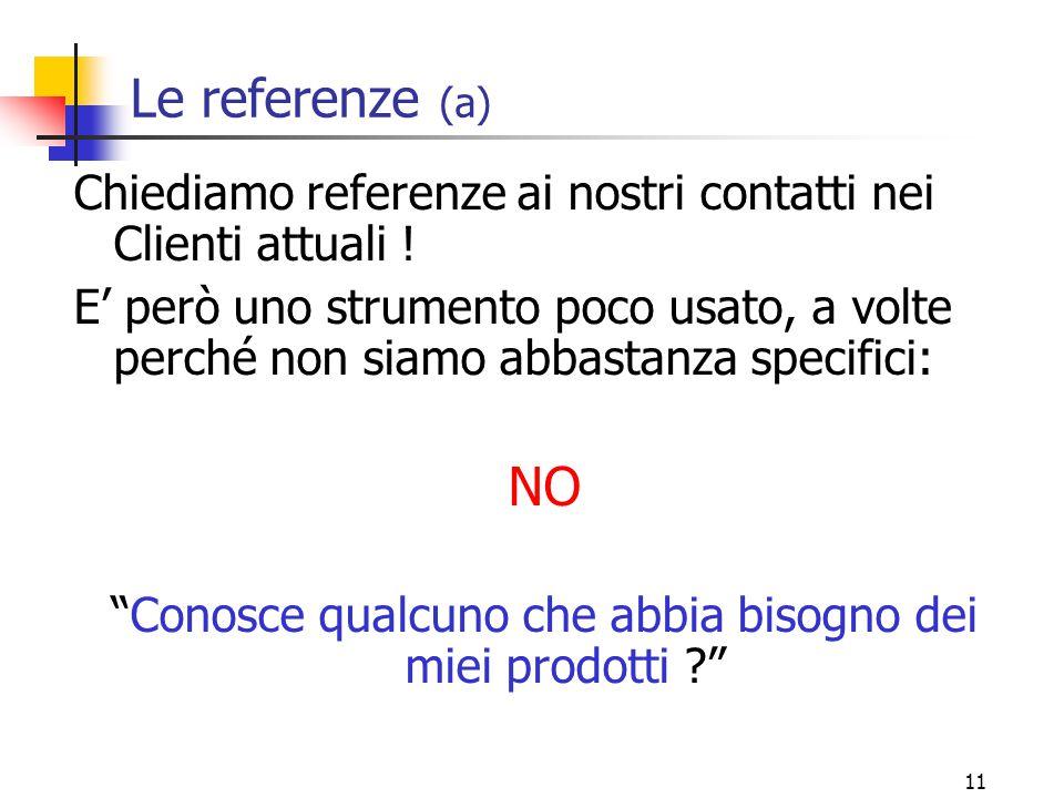 11 Le referenze (a) Chiediamo referenze ai nostri contatti nei Clienti attuali .