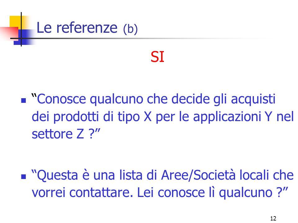 12 Le referenze (b) SI Conosce qualcuno che decide gli acquisti dei prodotti di tipo X per le applicazioni Y nel settore Z ? Questa è una lista di Aree/Società locali che vorrei contattare.