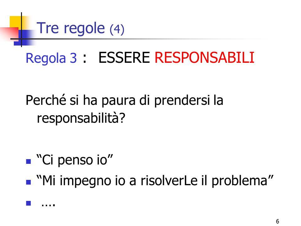 6 Tre regole (4) Regola 3 : ESSERE RESPONSABILI Perché si ha paura di prendersi la responsabilità.