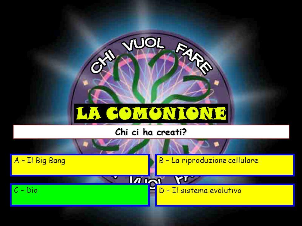 A – Il Big BangB – La riproduzione cellulare C – DioD – Il sistema evolutivo Chi ci ha creati.