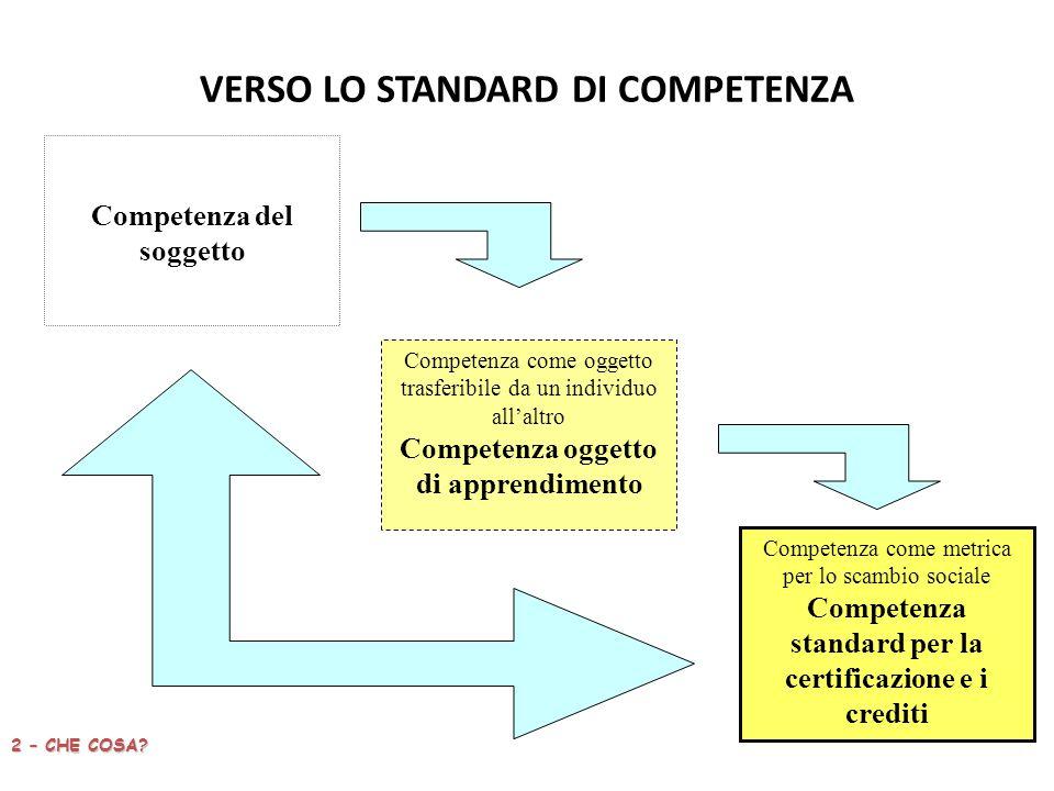 VERSO LO STANDARD DI COMPETENZA 2 – CHE COSA.
