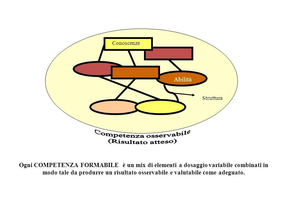 Conoscenze Struttura Abilità Ogni COMPETENZA FORMABILE è un mix di elementi a dosaggio variabile combinati in modo tale da produrre un risultato osser