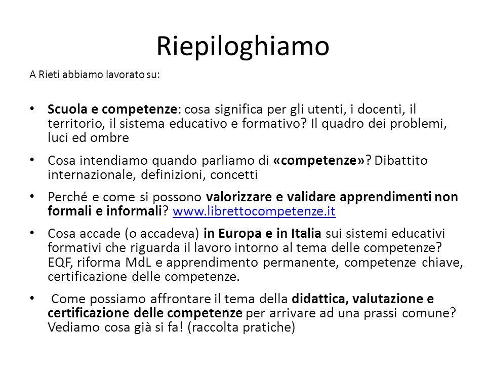Riepiloghiamo A Rieti abbiamo lavorato su: Scuola e competenze: cosa significa per gli utenti, i docenti, il territorio, il sistema educativo e format