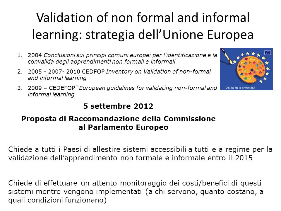 Validation of non formal and informal learning: strategia dell'Unione Europea 1.2004 Conclusioni sui principi comuni europei per l'identificazione e la convalida degli apprendimenti non formali e informali 2.2005 - 2007- 2010 CEDFOP Inventory on Validation of non-formal and informal learning 3.2009 – CEDEFOP European guidelines for validating non ‑ formal and informal learning 5 settembre 2012 Proposta di Raccomandazione della Commissione al Parlamento Europeo Chiede a tutti i Paesi di allestire sistemi accessibili a tutti e a regime per la validazione dell'apprendimento non formale e informale entro il 2015 Chiede di effettuare un attento monitoraggio dei costi/benefici di questi sistemi mentre vengono implementati (a chi servono, quanto costano, a quali condizioni funzionano)