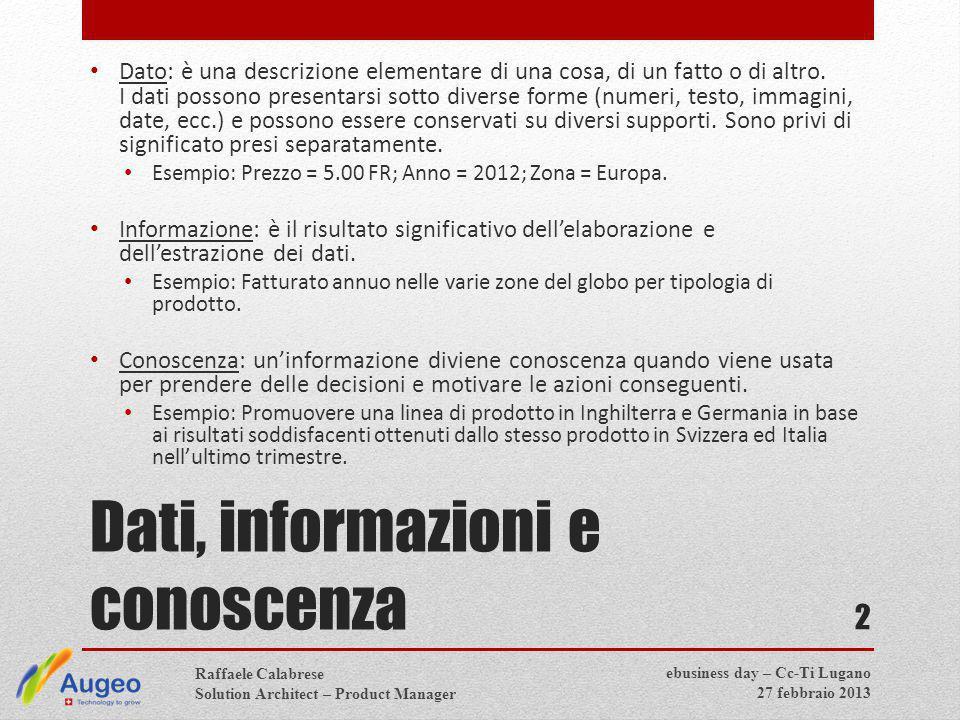 Dati, informazioni e conoscenza Dato: è una descrizione elementare di una cosa, di un fatto o di altro.