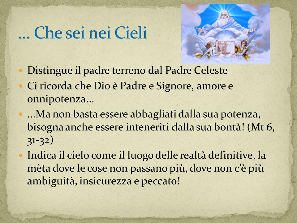 Distingue il padre terreno dal Padre Celeste Ci ricorda che Dio è Padre e Signore, amore e onnipotenza......Ma non basta essere abbagliati dalla sua potenza, bisogna anche essere inteneriti dalla sua bontà.