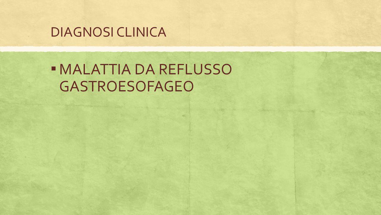 DIAGNOSI CLINICA ▪ MALATTIA DA REFLUSSO GASTROESOFAGEO