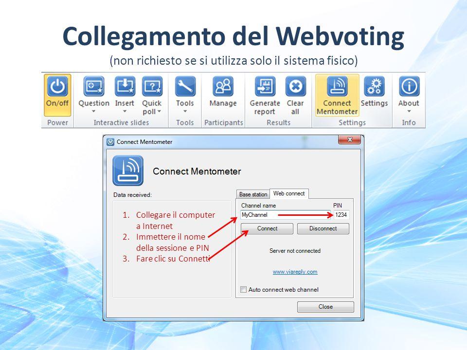 1.Collegare il computer a Internet 2.Immettere il nome della sessione e PIN 3.Fare clic su Connetti Collegamento del Webvoting (non richiesto se si utilizza solo il sistema fisico)