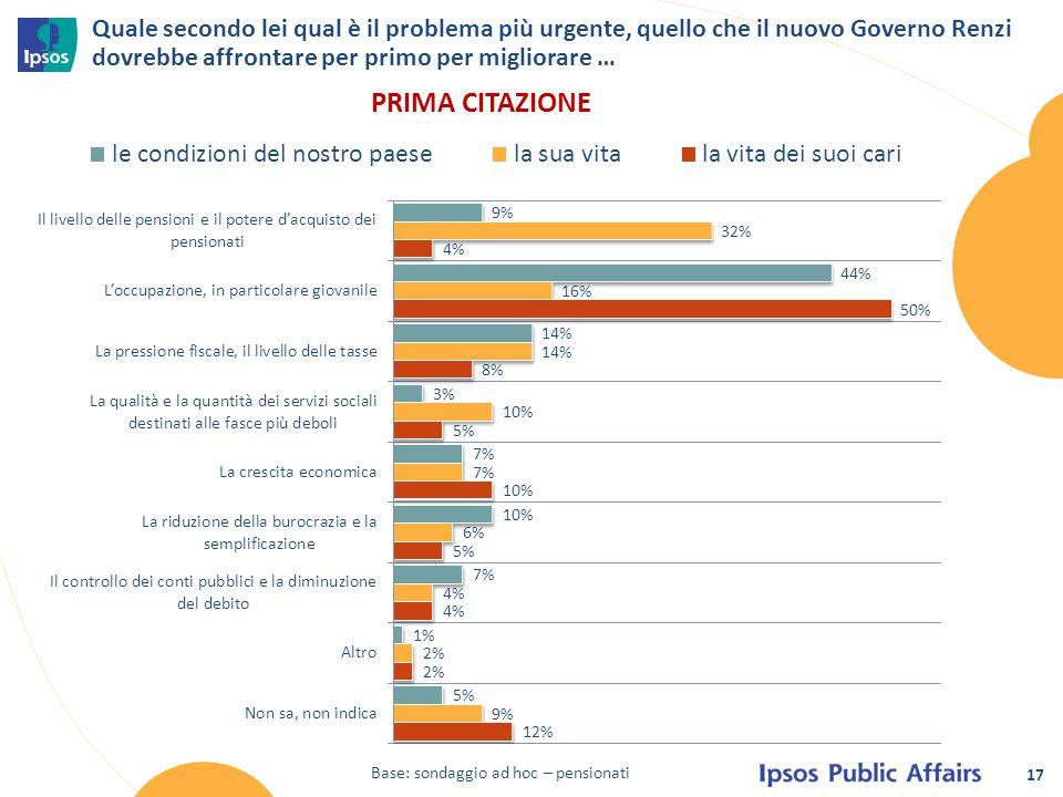 17 Quale secondo lei qual è il problema più urgente, quello che il nuovo Governo Renzi dovrebbe affrontare per primo per migliorare … Base: sondaggio