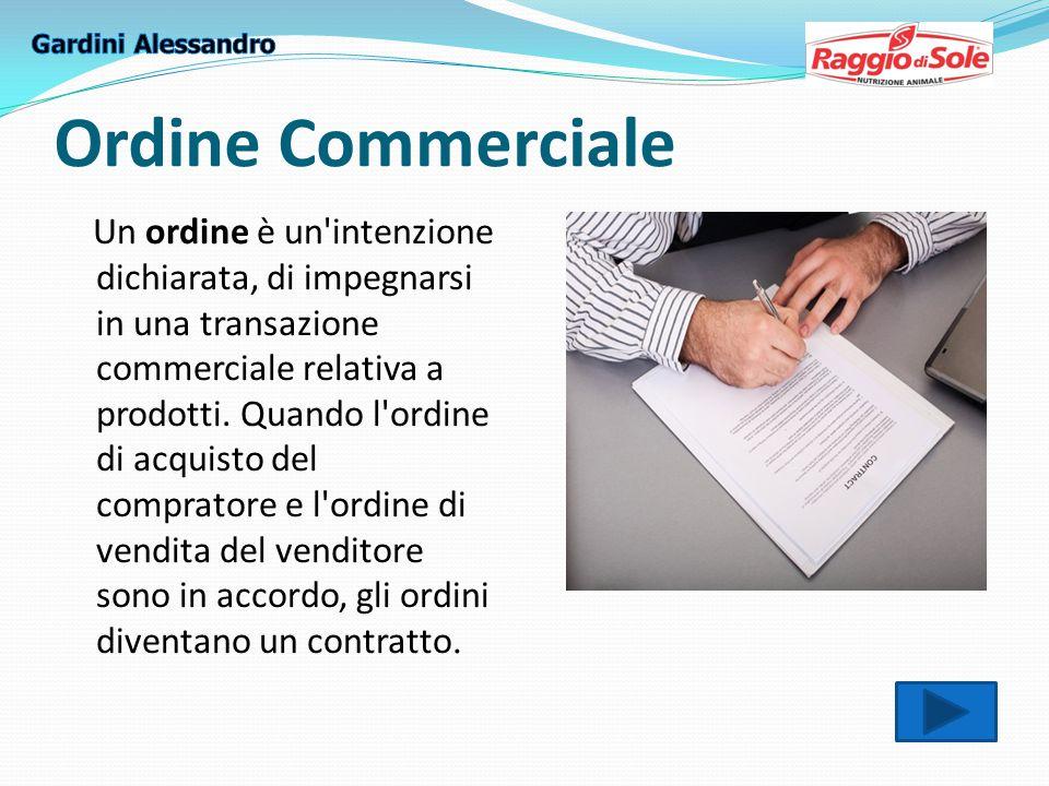 Ordine Commerciale Un ordine è un intenzione dichiarata, di impegnarsi in una transazione commerciale relativa a prodotti.