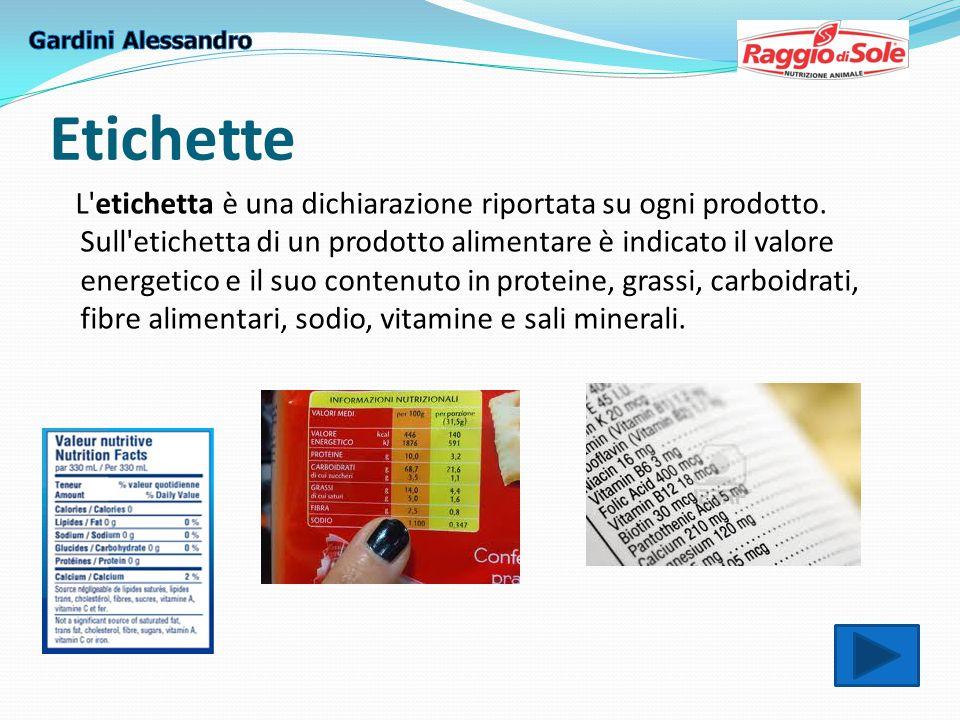 Etichette L etichetta è una dichiarazione riportata su ogni prodotto.