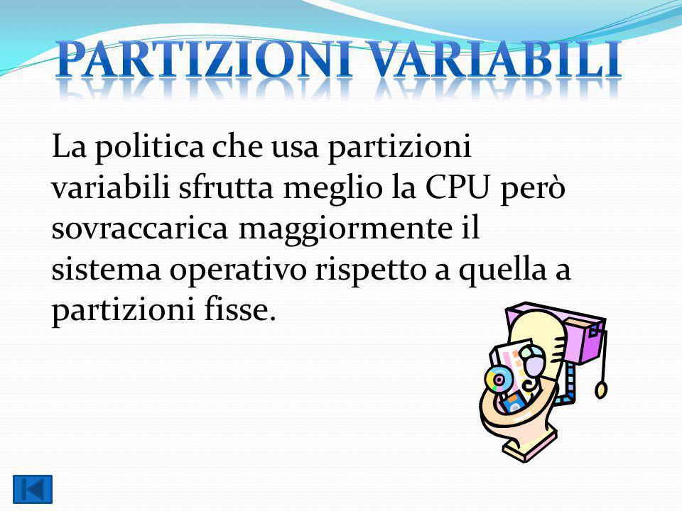 La politica che usa partizioni variabili sfrutta meglio la CPU però sovraccarica maggiormente il sistema operativo rispetto a quella a partizioni fisse.