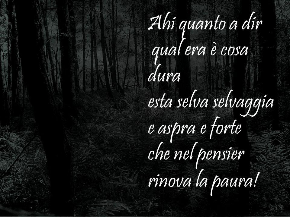 Mi ritrovai per una selva oscura che la diritta via era smarrita …