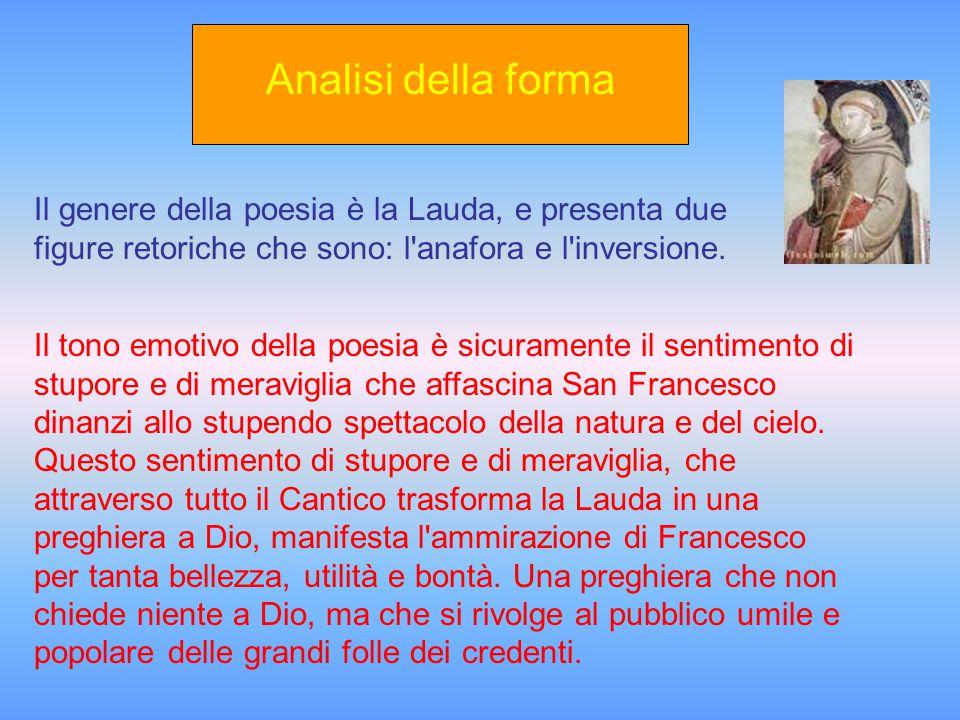 San Francesco, dopo la svolta mistica e la conversione spirituale, fonda l'ordine Frati minori che, secondo il suo insegnamento, devono vivere in pace