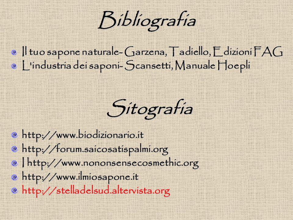 Bibliografia Il tuo sapone naturale- Garzena, Tadiello, Edizioni FAG L industria dei saponi- Scansetti, Manuale Hoepli http://www.biodizionario.ithttp://forum.saicosatispalmi.org I http://www.nononsensecosmethic.org http://www.ilmiosapone.ithttp://stelladelsud.altervista.org Sitografia
