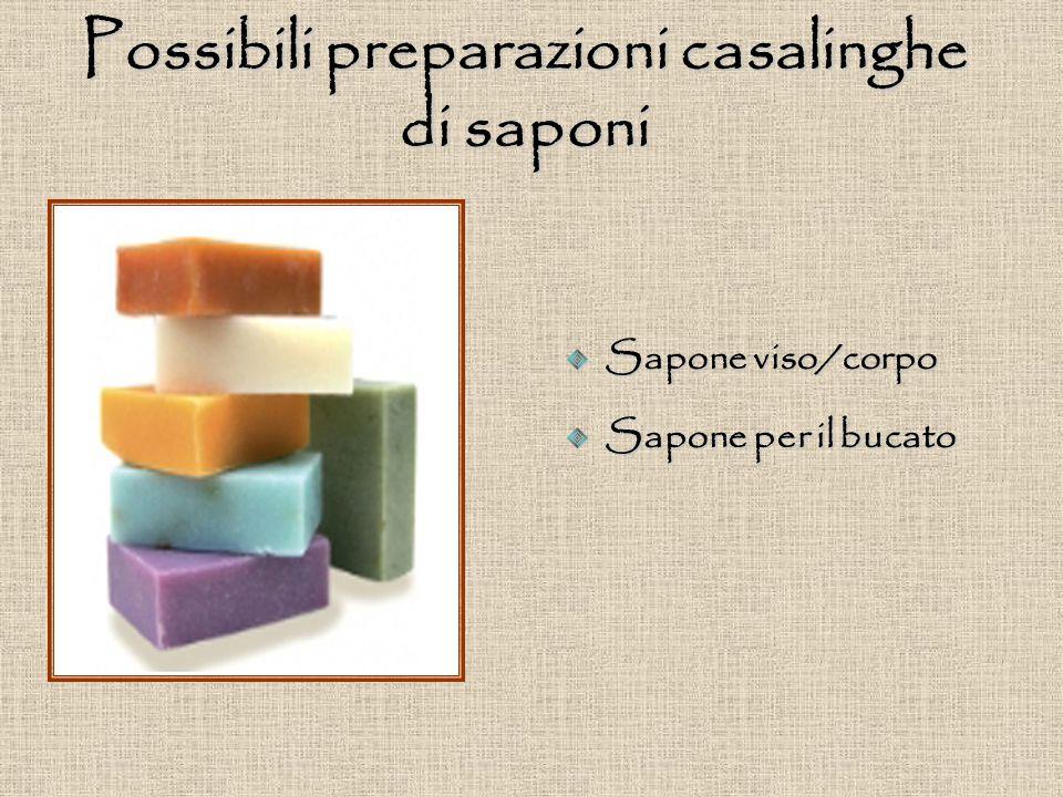 Possibili preparazioni casalinghe di saponi Sapone viso/corpo Sapone per il bucato