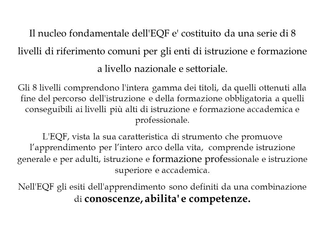 Il nucleo fondamentale dell EQF e costituito da una serie di 8 livelli di riferimento comuni per gli enti di istruzione e formazione a livello nazionale e settoriale.