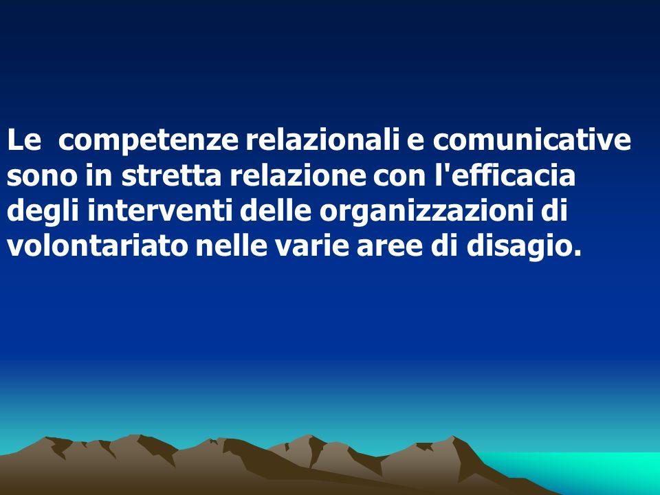 Le competenze relazionali e comunicative sono in stretta relazione con l'efficacia degli interventi delle organizzazioni di volontariato nelle varie a