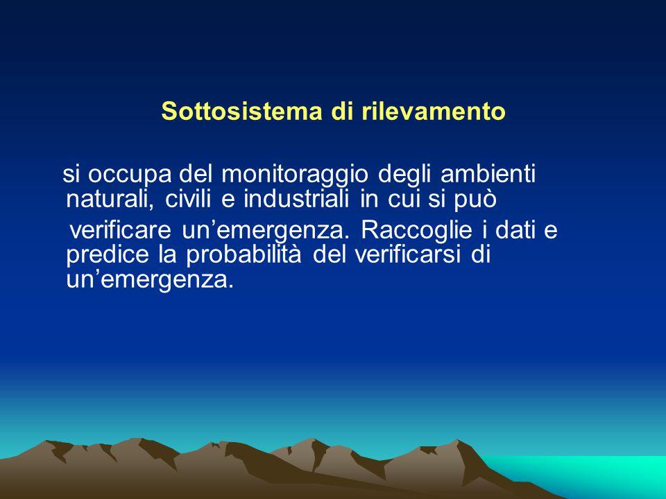 Sottosistema di rilevamento si occupa del monitoraggio degli ambienti naturali, civili e industriali in cui si può verificare un'emergenza. Raccoglie