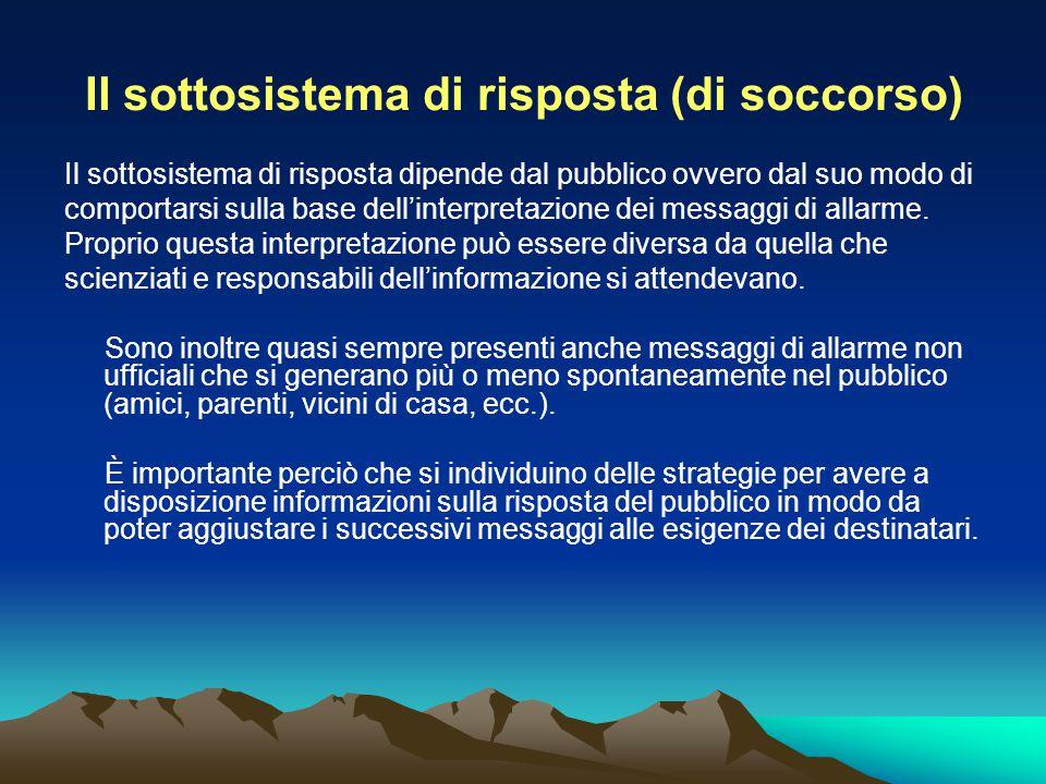 Il sottosistema di risposta (di soccorso) Il sottosistema di risposta dipende dal pubblico ovvero dal suo modo di comportarsi sulla base dell'interpre