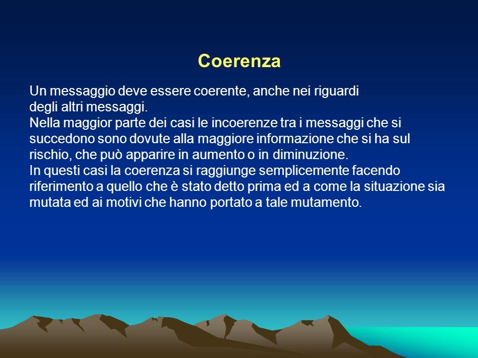 Coerenza Un messaggio deve essere coerente, anche nei riguardi degli altri messaggi. Nella maggior parte dei casi le incoerenze tra i messaggi che si