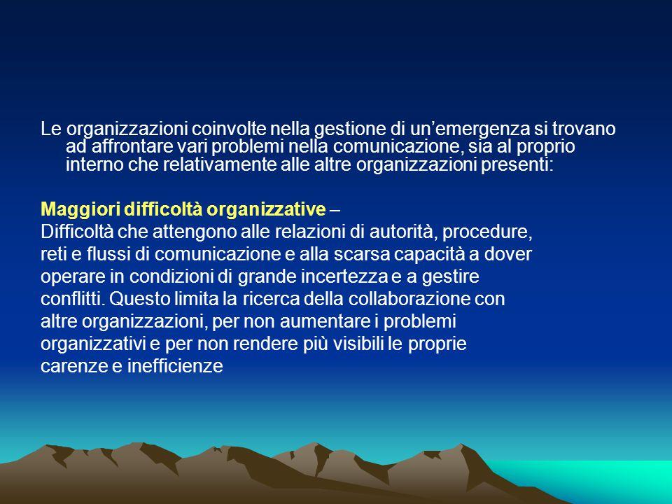 Le organizzazioni coinvolte nella gestione di un'emergenza si trovano ad affrontare vari problemi nella comunicazione, sia al proprio interno che rela