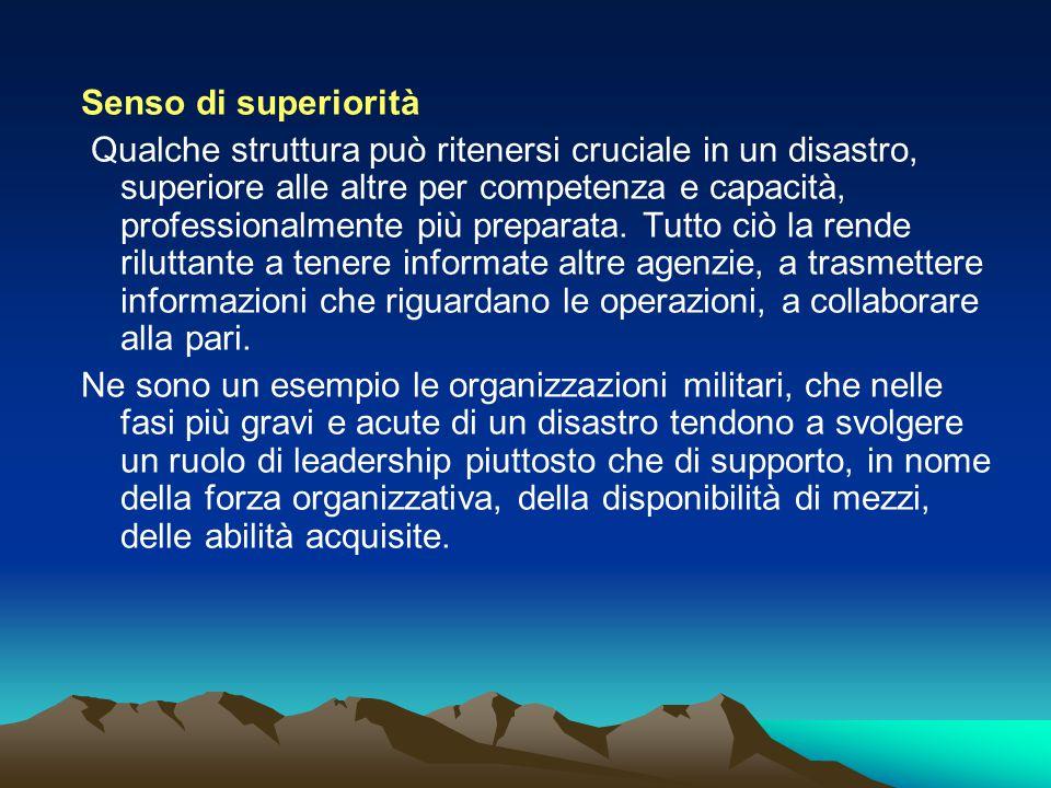 Senso di superiorità Qualche struttura può ritenersi cruciale in un disastro, superiore alle altre per competenza e capacità, professionalmente più pr