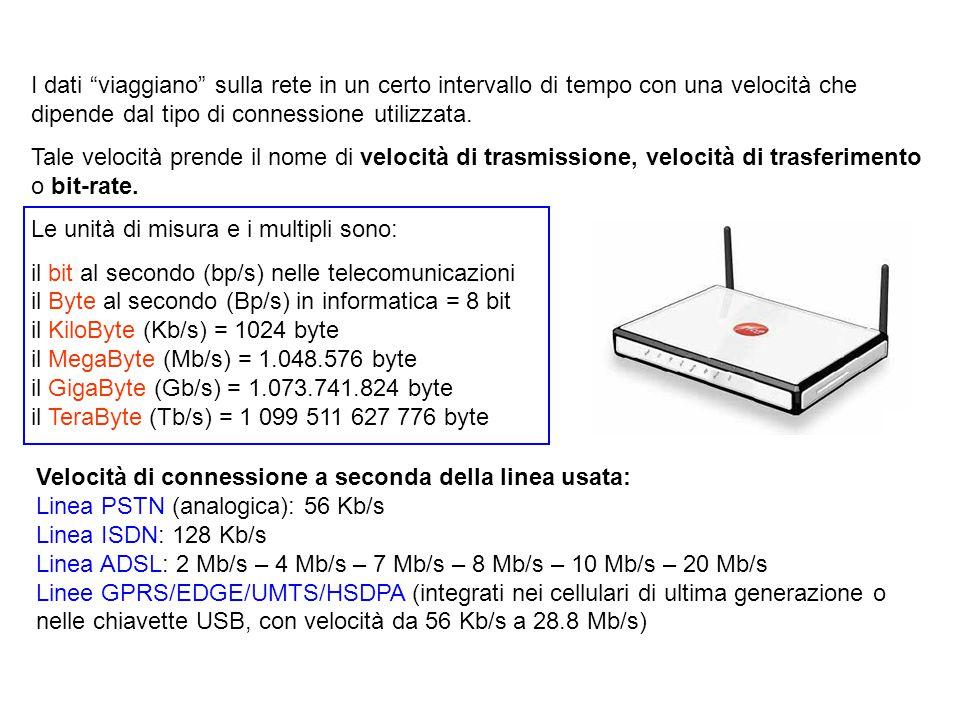 """I dati """"viaggiano"""" sulla rete in un certo intervallo di tempo con una velocità che dipende dal tipo di connessione utilizzata. Tale velocità prende il"""