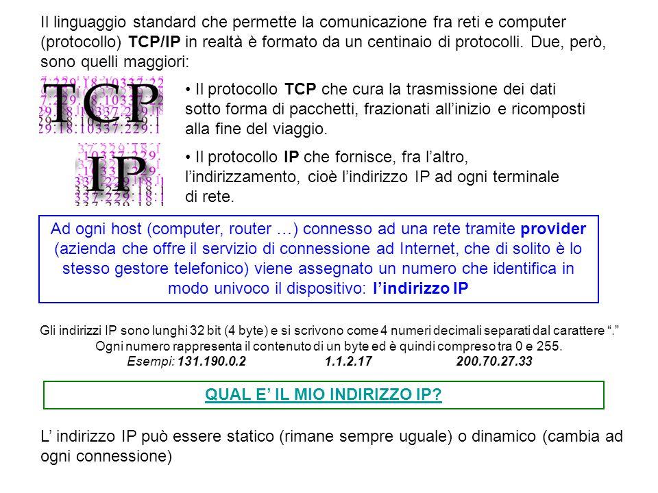 Il linguaggio standard che permette la comunicazione fra reti e computer (protocollo) TCP/IP in realtà è formato da un centinaio di protocolli. Due, p