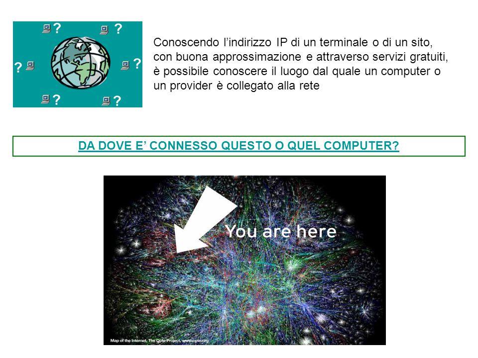 Conoscendo l'indirizzo IP di un terminale o di un sito, con buona approssimazione e attraverso servizi gratuiti, è possibile conoscere il luogo dal qu