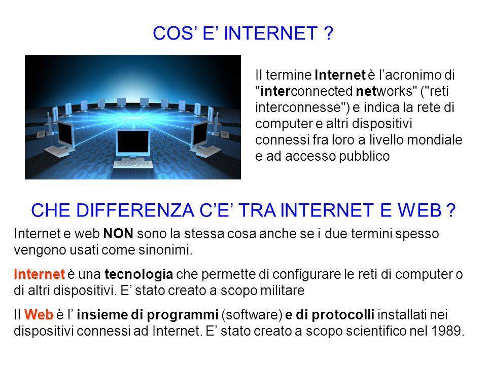 CHE DIFFERENZA C'E' TRA INTERNET E WEB ? Internet e web NON sono la stessa cosa anche se i due termini spesso vengono usati come sinonimi. Internet In