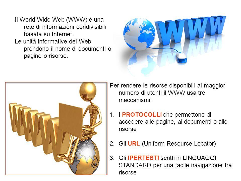 Il World Wide Web (WWW) è una rete di informazioni condivisibili basata su Internet. Le unità informative del Web prendono il nome di documenti o pagi