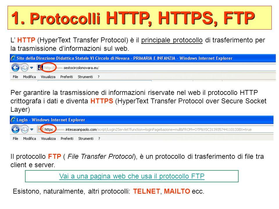 1. Protocolli HTTP, HTTPS, FTP L' HTTP (HyperText Transfer Protocol) è il principale protocollo di trasferimento per la trasmissione d'informazioni su