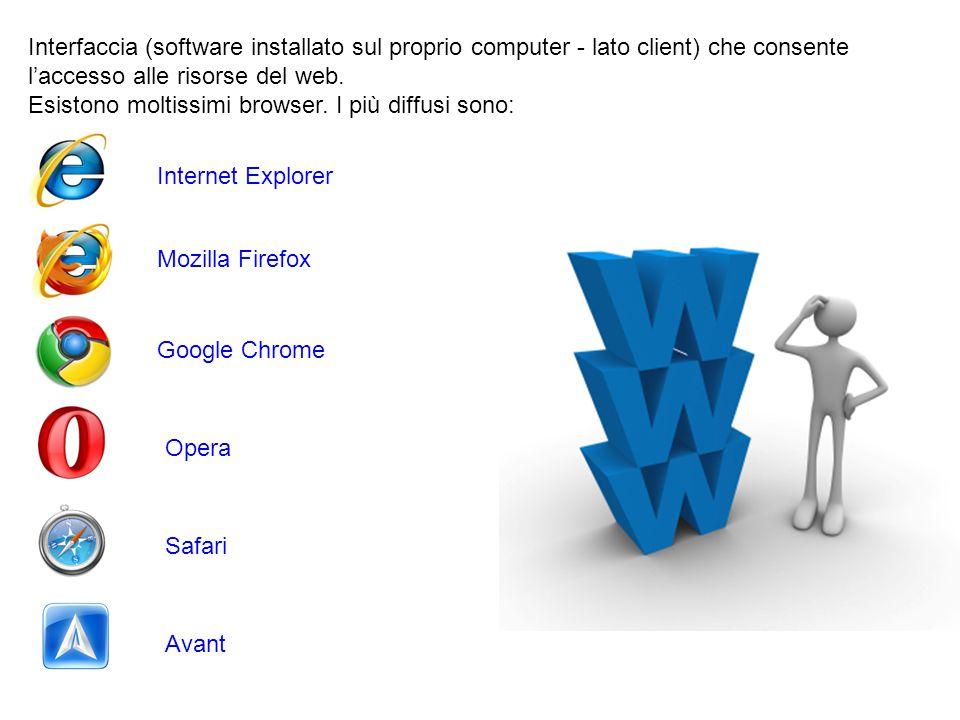 Interfaccia (software installato sul proprio computer - lato client) che consente l'accesso alle risorse del web. Esistono moltissimi browser. I più d