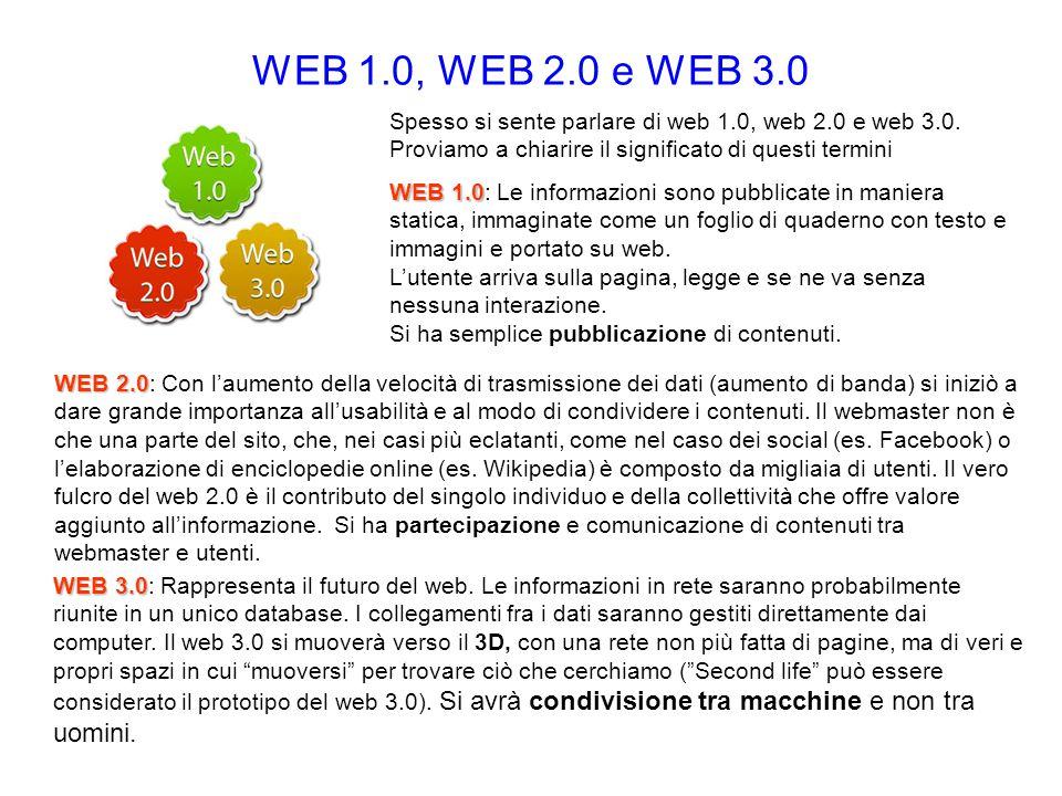 WEB 1.0, WEB 2.0 e WEB 3.0 Spesso si sente parlare di web 1.0, web 2.0 e web 3.0. Proviamo a chiarire il significato di questi termini WEB 1.0 WEB 1.0