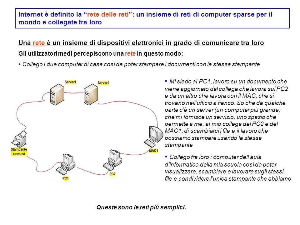 """Internet è definito la """"rete delle reti"""": un insieme di reti di computer sparse per il mondo e collegate fra loro Una rete è un insieme di dispositivi"""