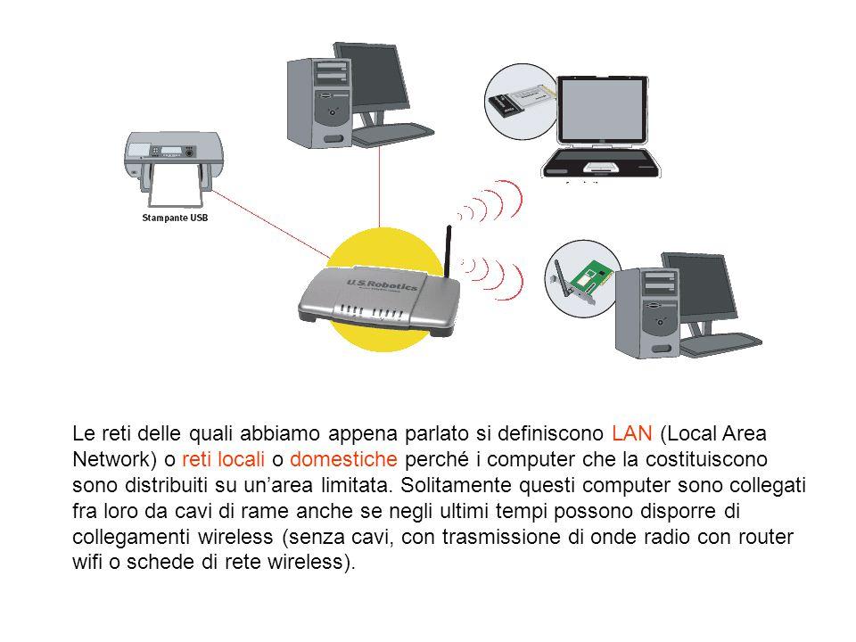 Le reti delle quali abbiamo appena parlato si definiscono LAN (Local Area Network) o reti locali o domestiche perché i computer che la costituiscono s