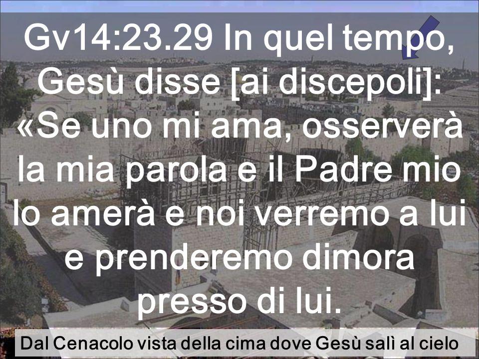 Dal Cenacolo vista della cima dove Gesù salì al cielo Gv14:23.29 In quel tempo, Gesù disse [ai discepoli]: «Se uno mi ama, osserverà la mia parola e il Padre mio lo amerà e noi verremo a lui e prenderemo dimora presso di lui.