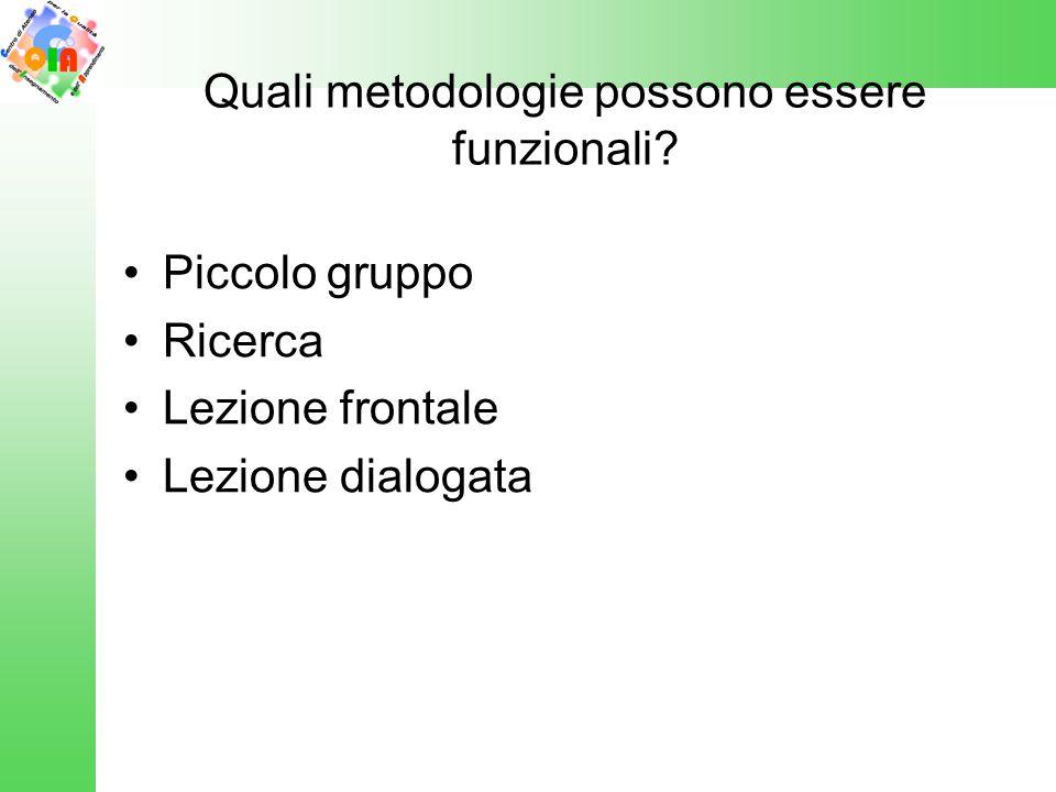 Quali metodologie possono essere funzionali? Piccolo gruppo Ricerca Lezione frontale Lezione dialogata