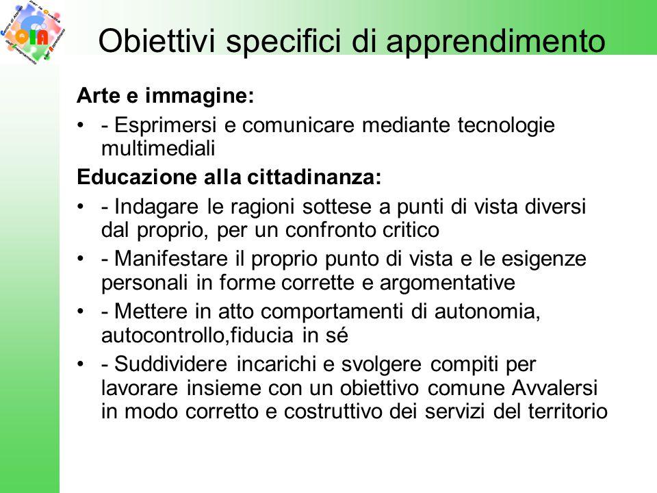 Obiettivi specifici di apprendimento Arte e immagine: - Esprimersi e comunicare mediante tecnologie multimediali Educazione alla cittadinanza: - Indag