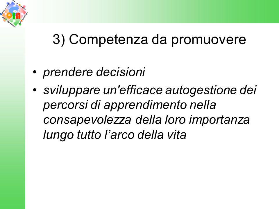 3) Competenza da promuovere prendere decisioni sviluppare un'efficace autogestione dei percorsi di apprendimento nella consapevolezza della loro impor
