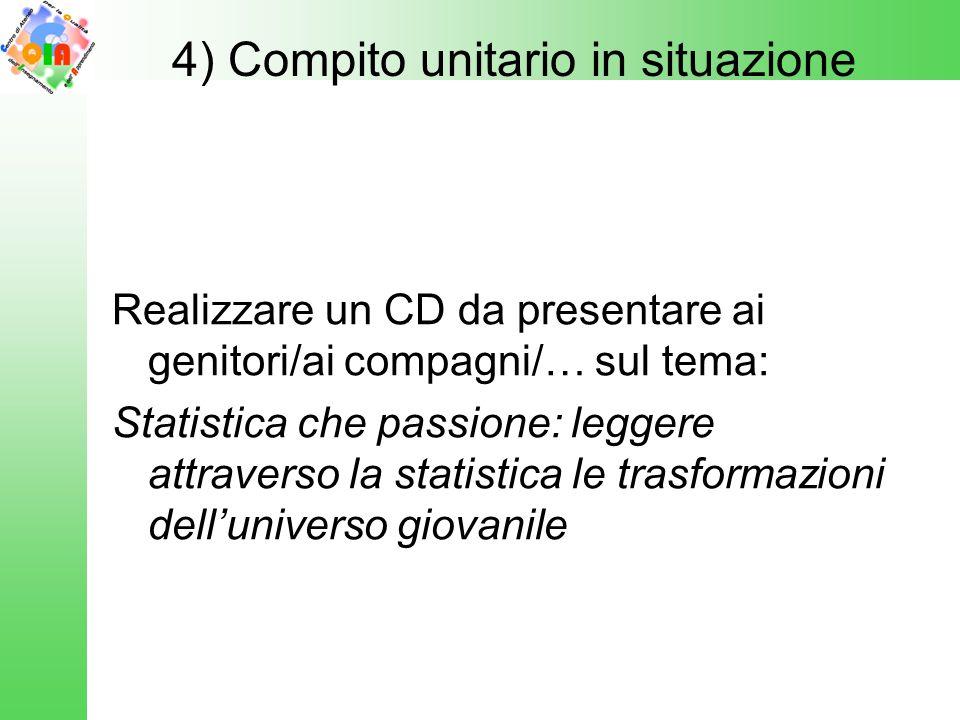Realizzare un CD da presentare ai genitori/ai compagni/… sul tema: Statistica che passione: leggere attraverso la statistica le trasformazioni dell'un