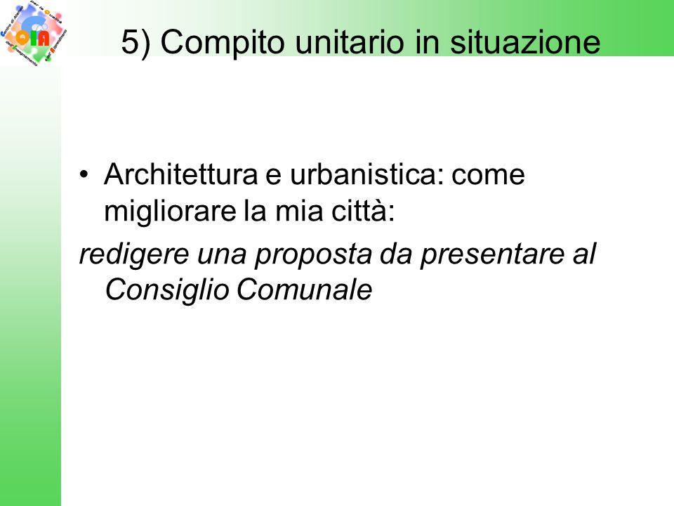 Architettura e urbanistica: come migliorare la mia città: redigere una proposta da presentare al Consiglio Comunale 5) Compito unitario in situazione