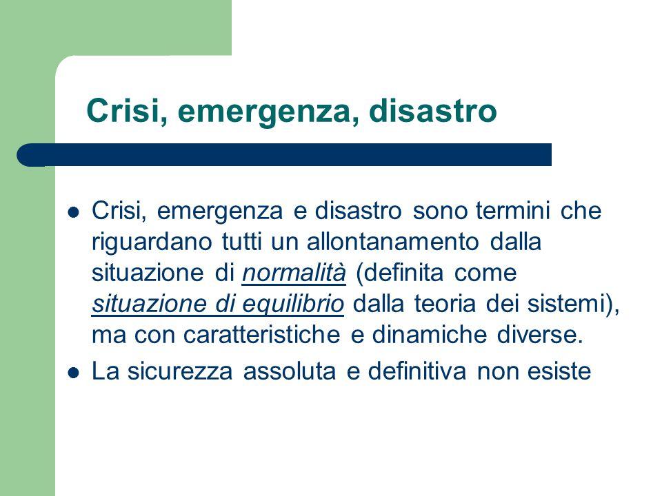 Crisi, emergenza, disastro Crisi, emergenza e disastro sono termini che riguardano tutti un allontanamento dalla situazione di normalità (definita com